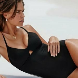 NWT $152 SEAFOLLY US 10 ACTIVE BLACK ONE PIECE